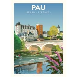 Affiche PAU , le pont sur le Gave
