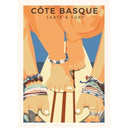 Affiche Côte basque, skate & surf